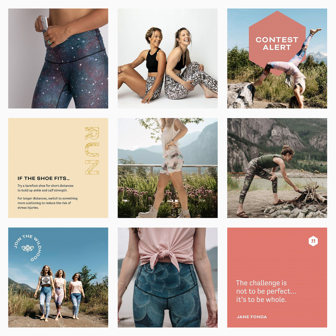 Flipside Creative's rebrand for Squamish BC-based slow-fashion fitness co Bewildher included a logo design, new colour palette, pattern design, Instagram feed design, and packaging details.