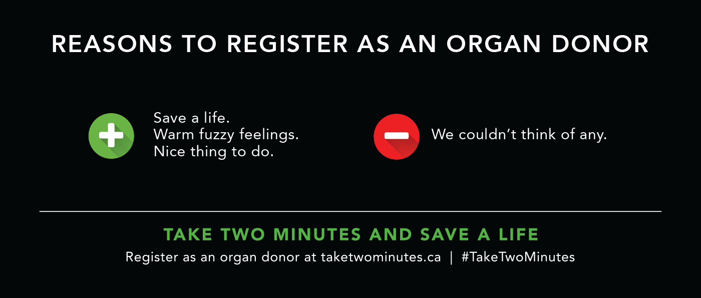 #taketwominutes campaign creative for BC Transplant, by Flipside Creative.