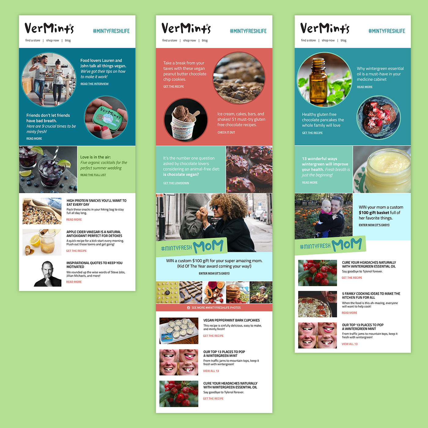 Content and social media marketing strategy and design for VerMints, by Flipside Creative.