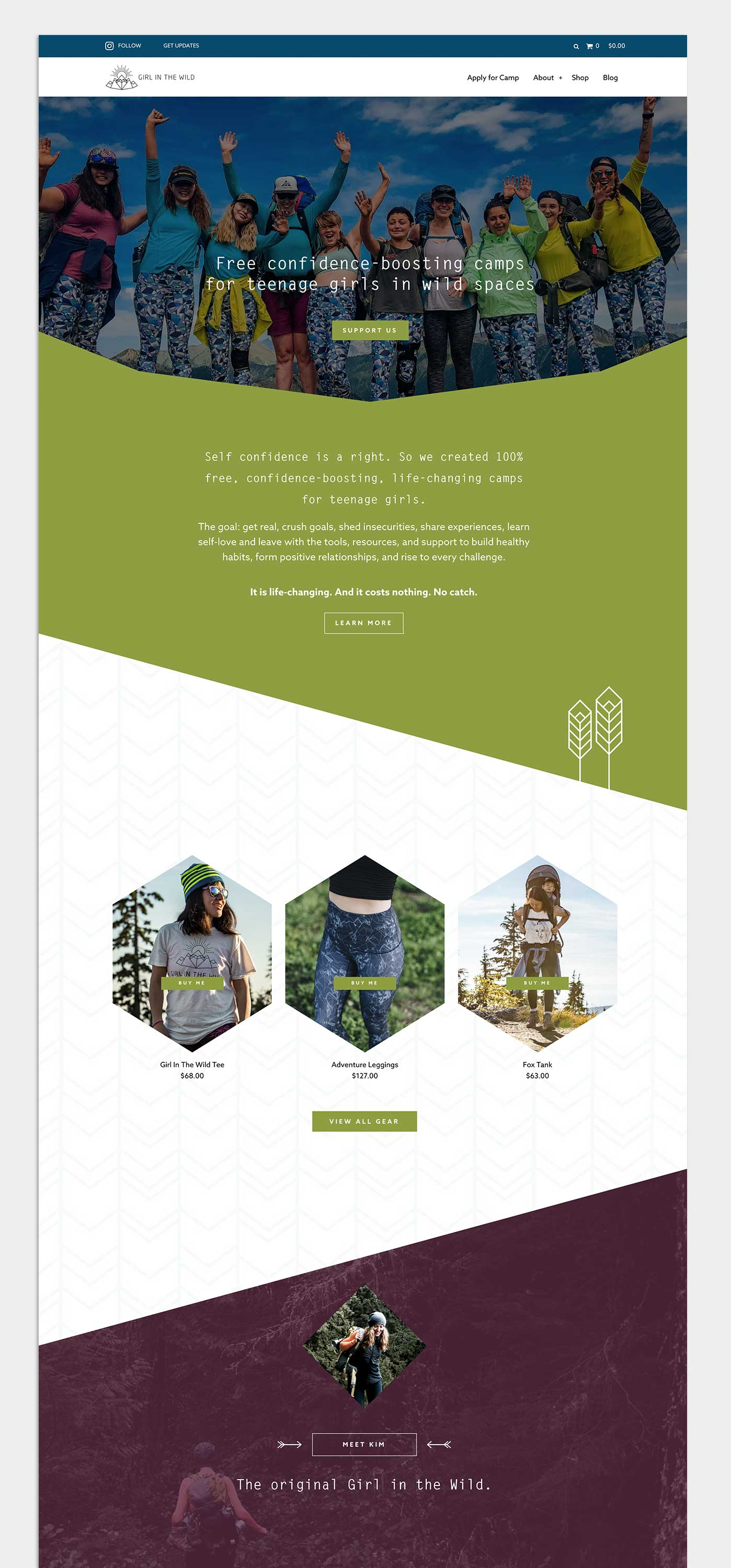 Brand design, web design and development, and printed marketing materials for Girl In The Wild, by Flipside Creative.