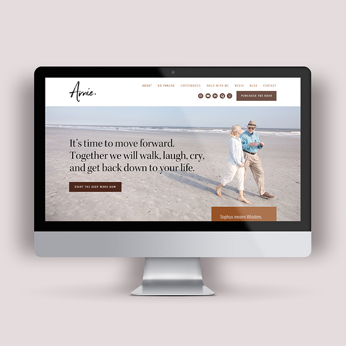Full brand, website design, Instagram feed, and book design for Arnie Freiman, by Flipside Creative.