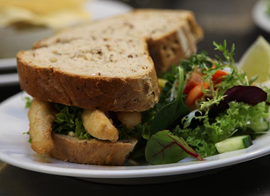 Photo of fish sandwich.