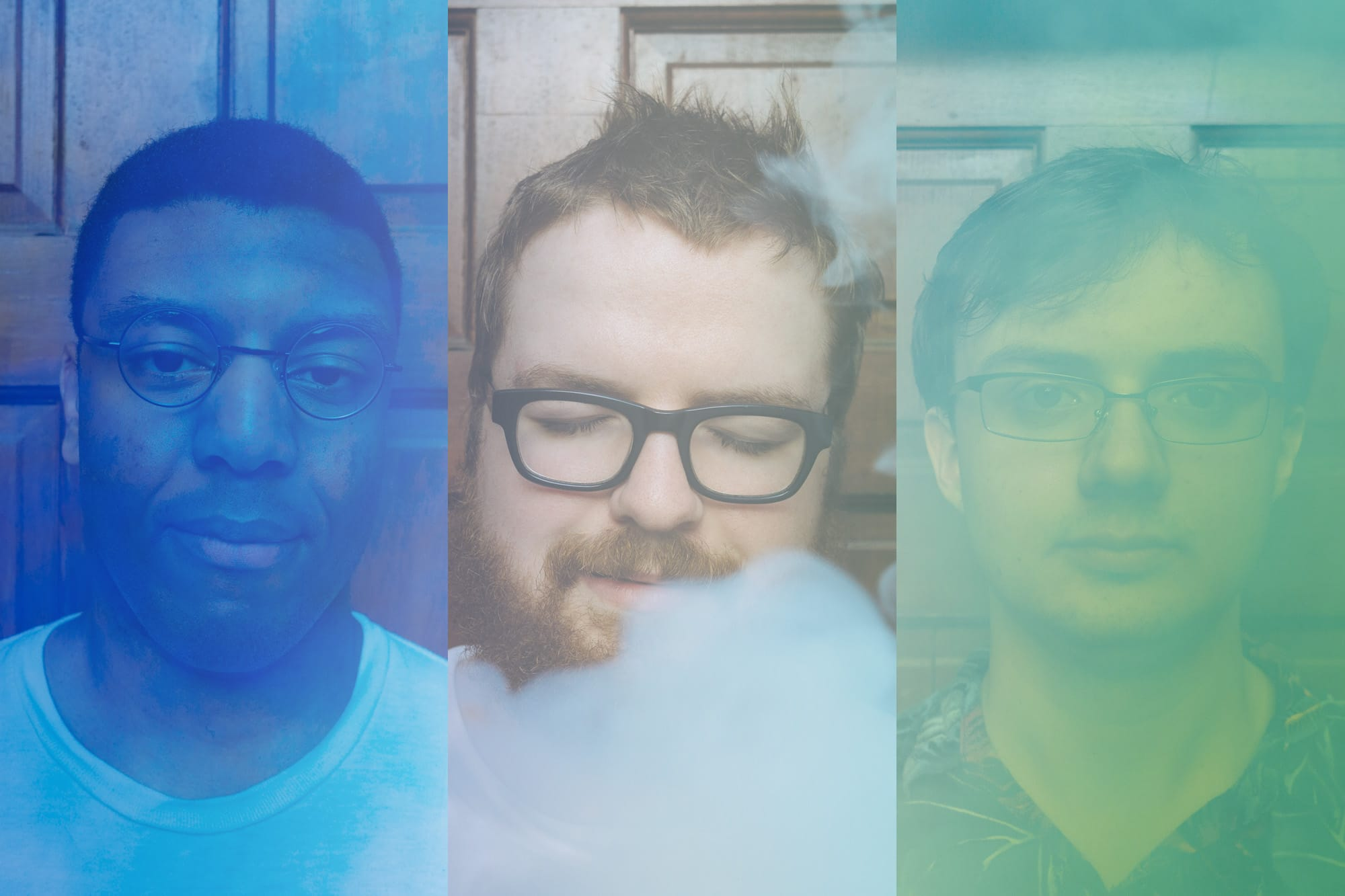 portrait of atlanta band Feverest with colored smoke