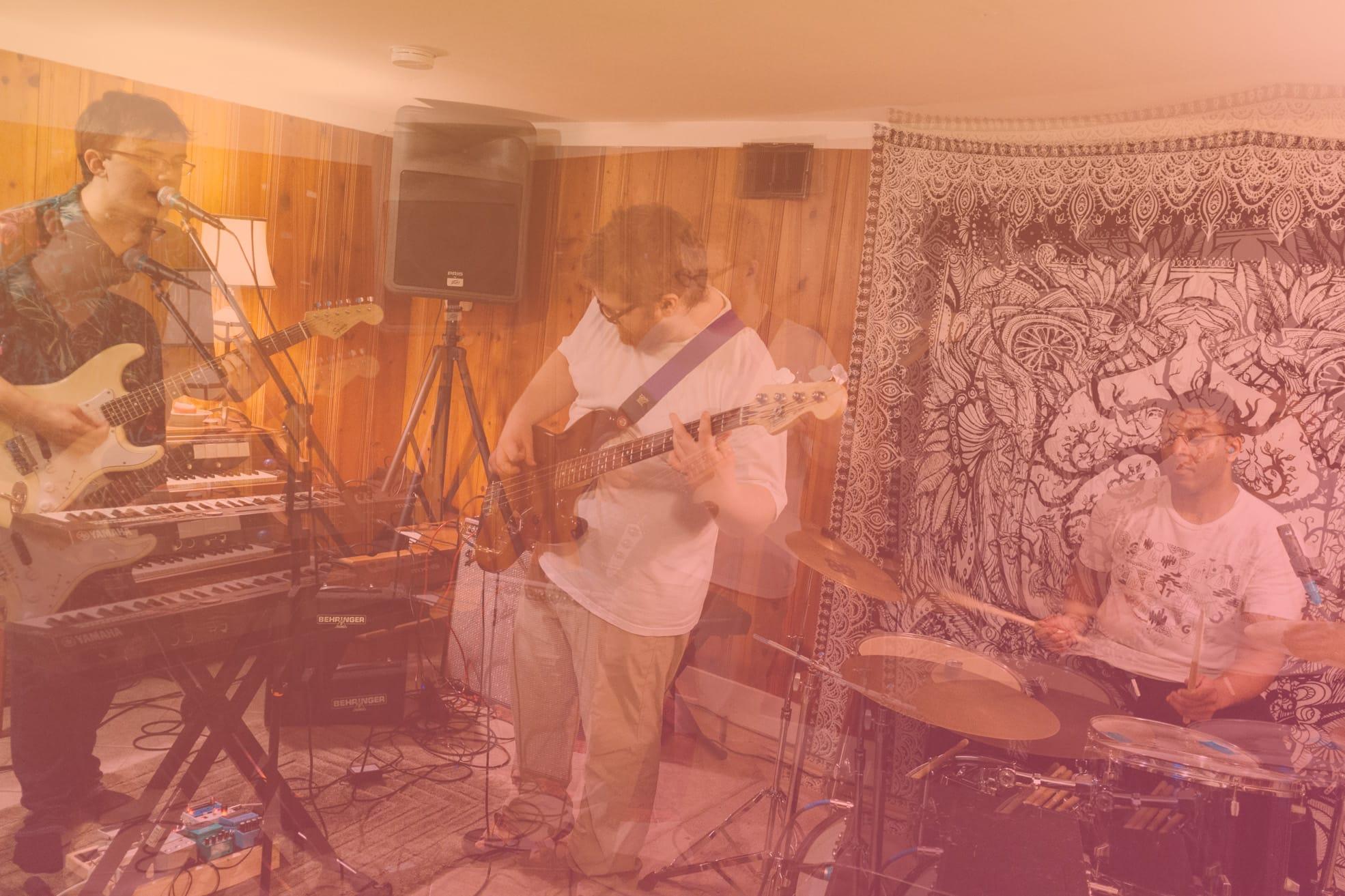 double exposure photo of atlanta band Feverest playing