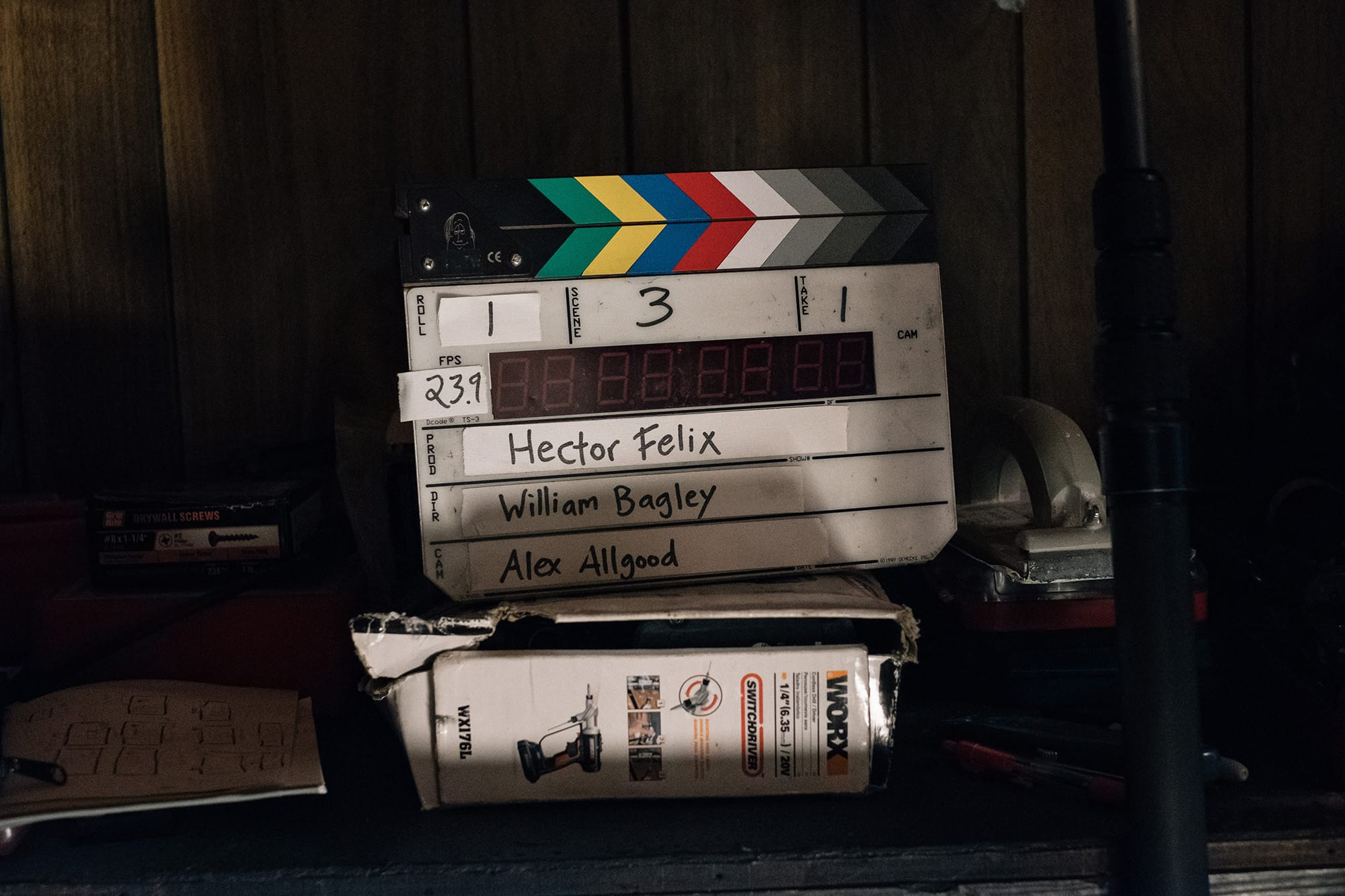 slate on set of short film hector felix