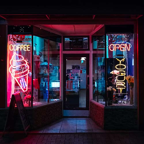 neon storefront at night