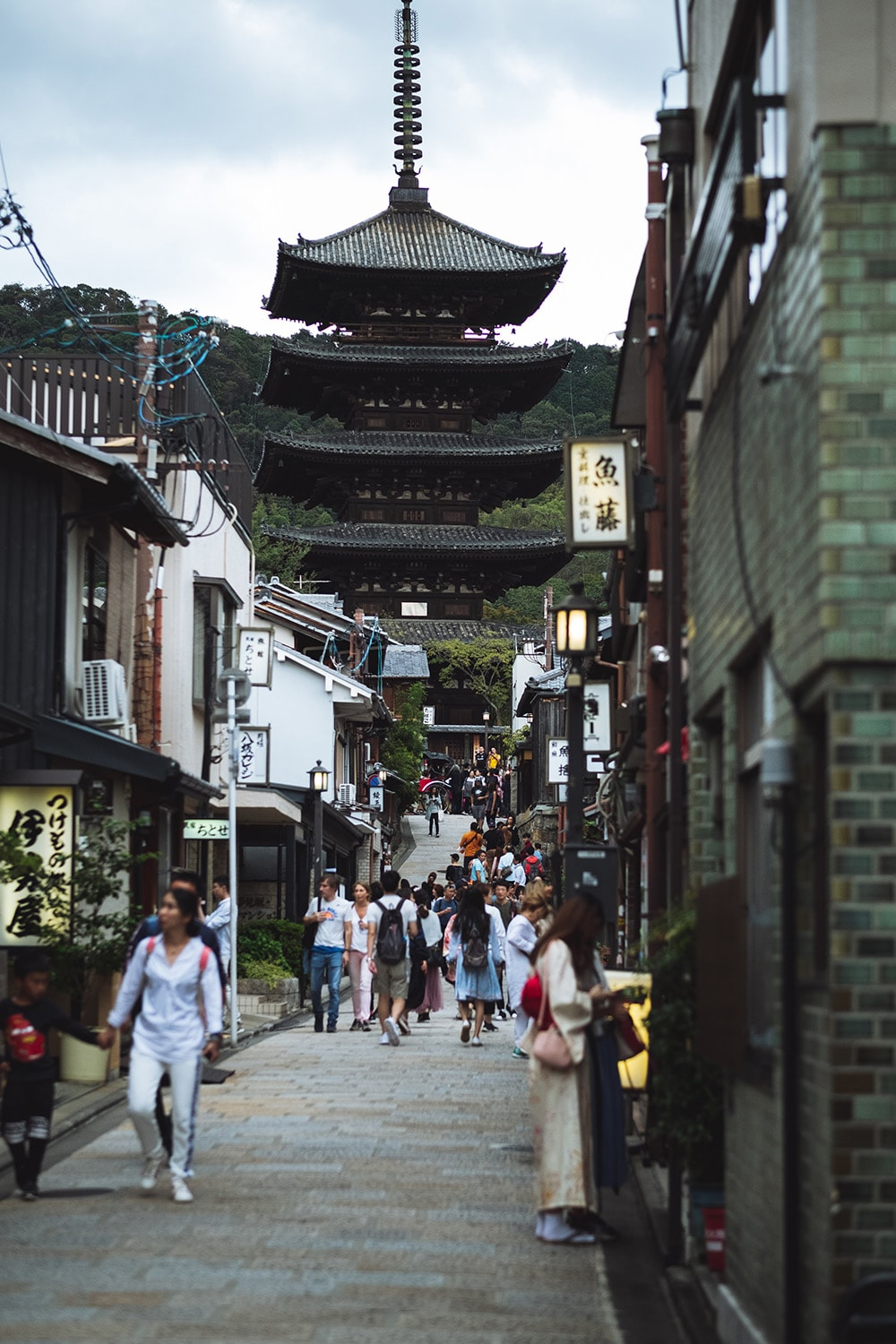 street with pagoda in Kyoto