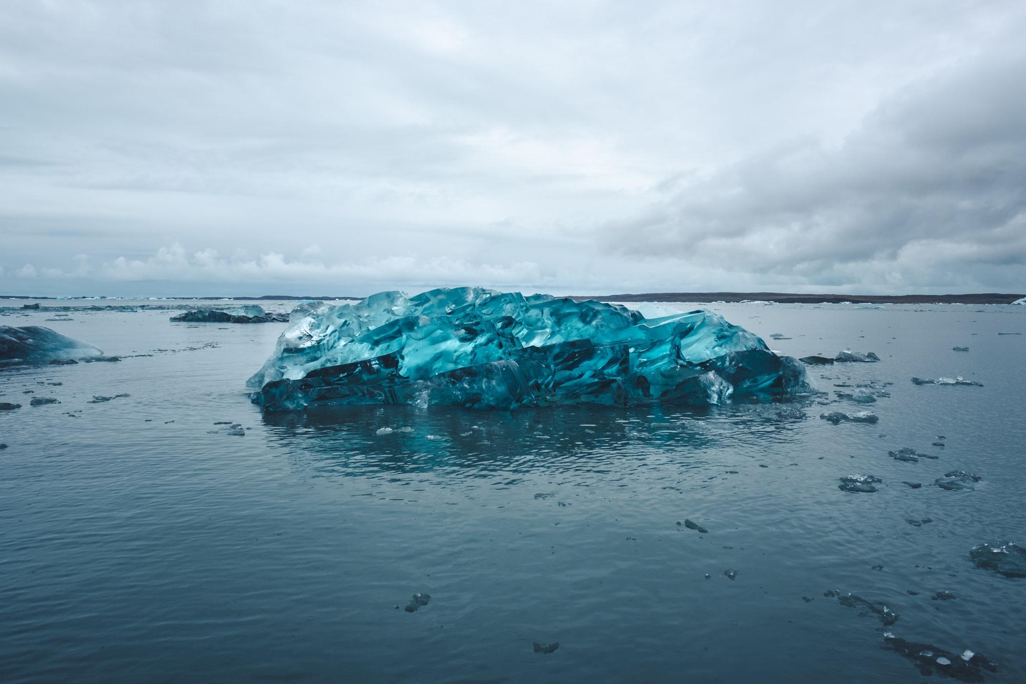 iceberg floating in lagoon