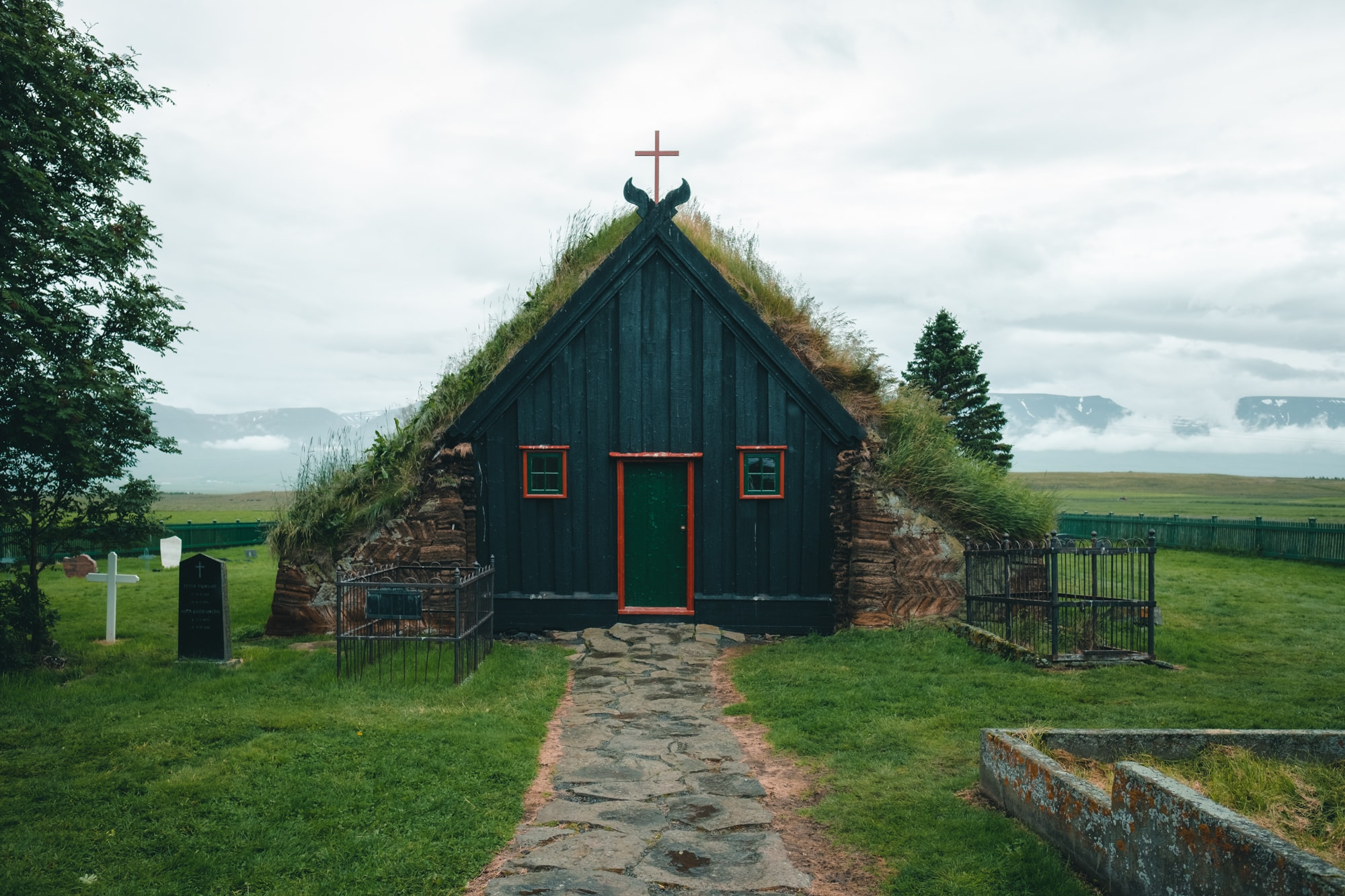 moss-covered church in Iceland