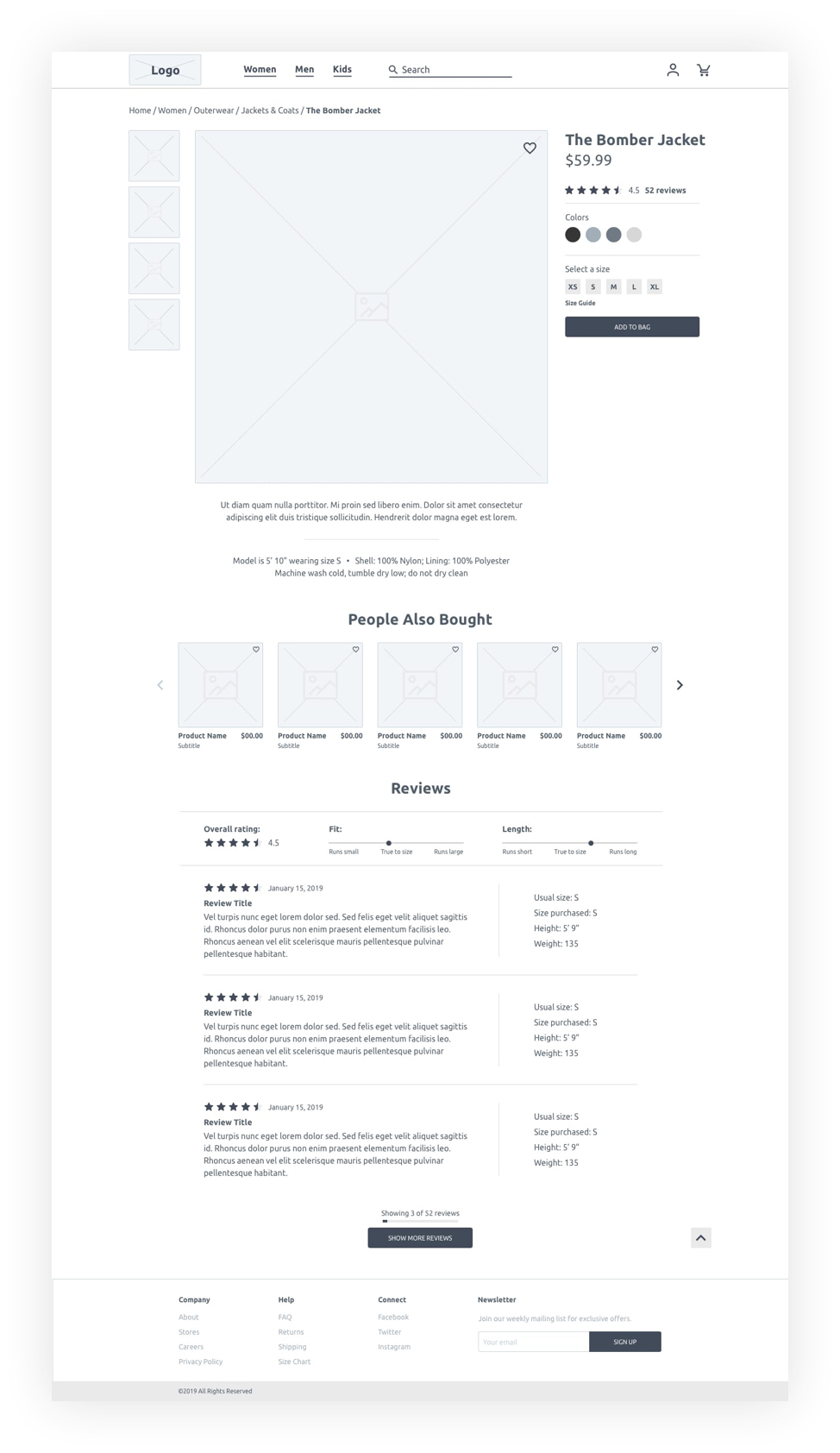 wireframe of product page