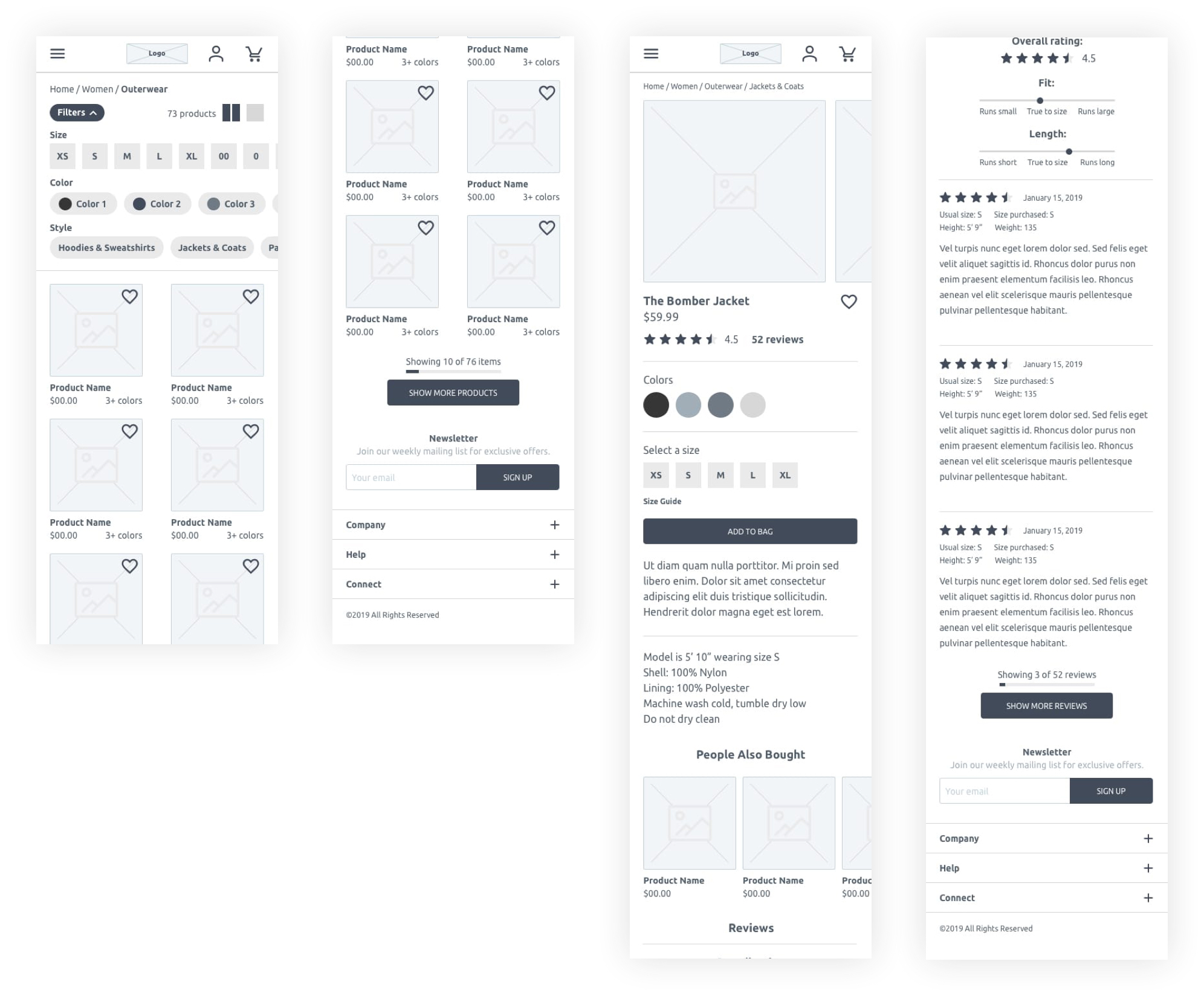 wireframe of mobile pages