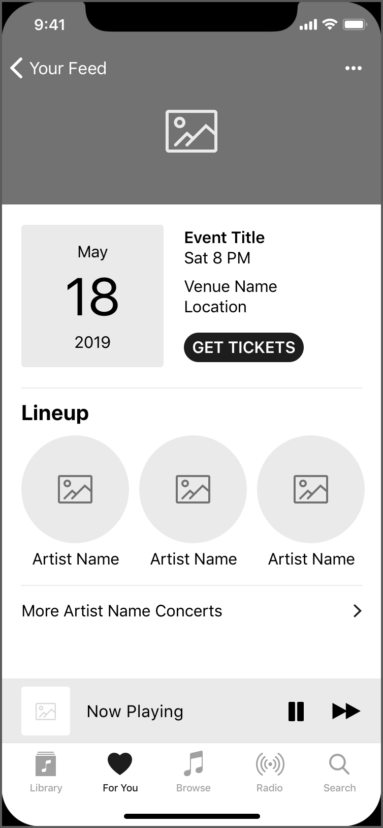 wireframe of concert screen