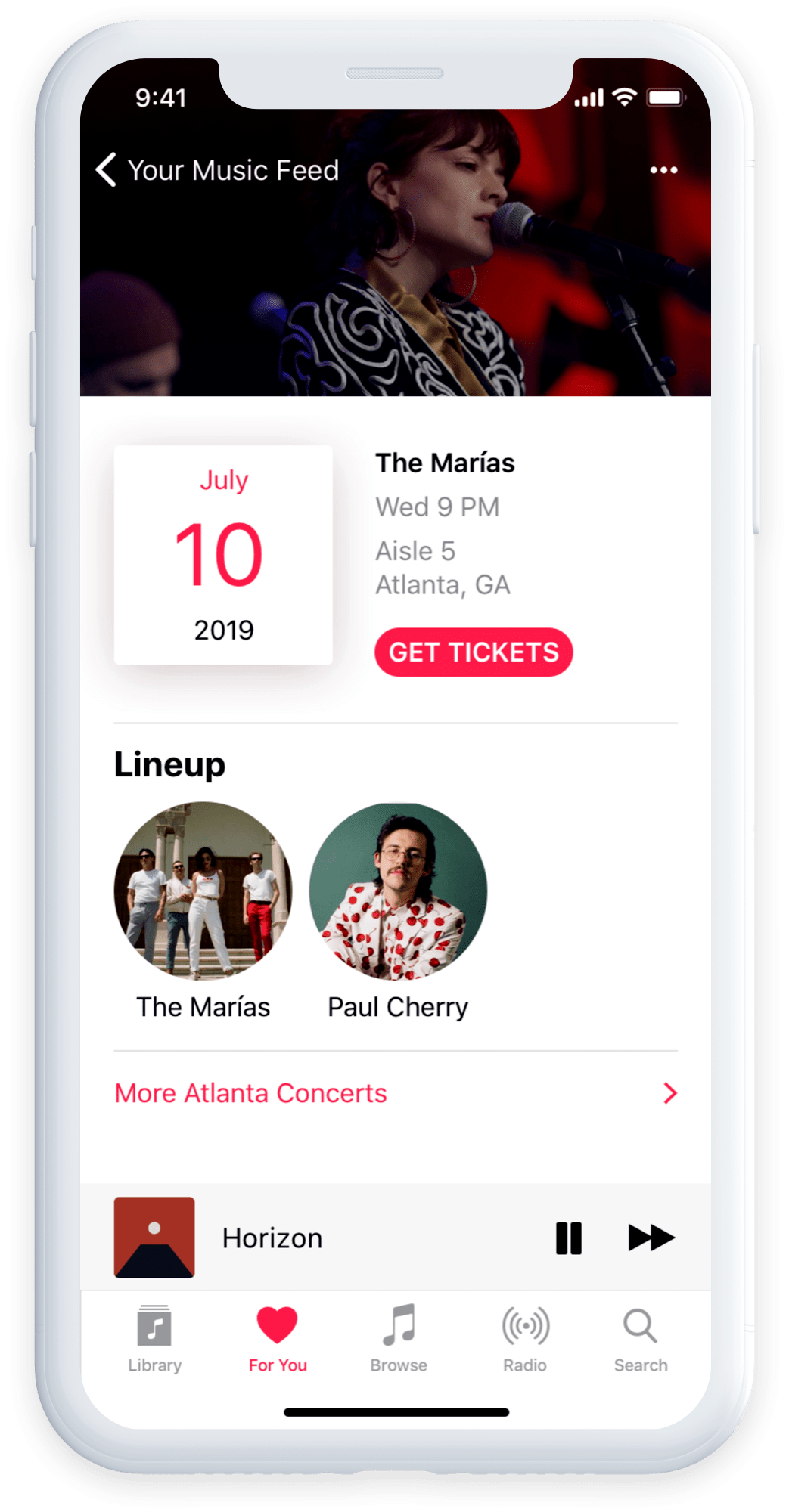 Apple Music concert screen