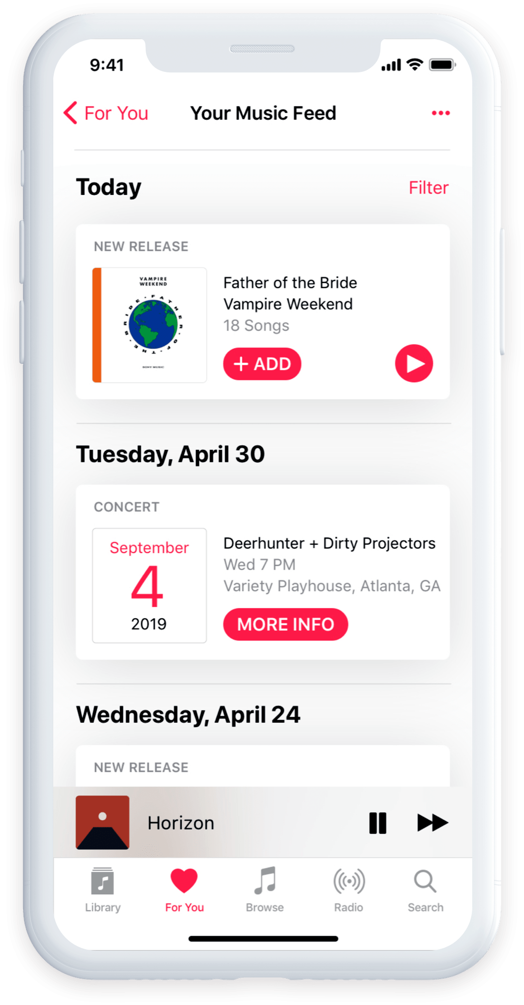 Apple Music for you screen