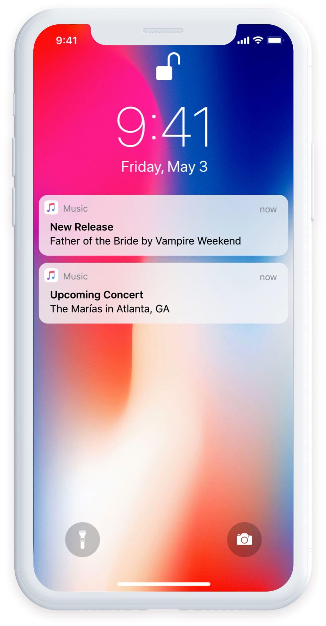 lock screen showing notification