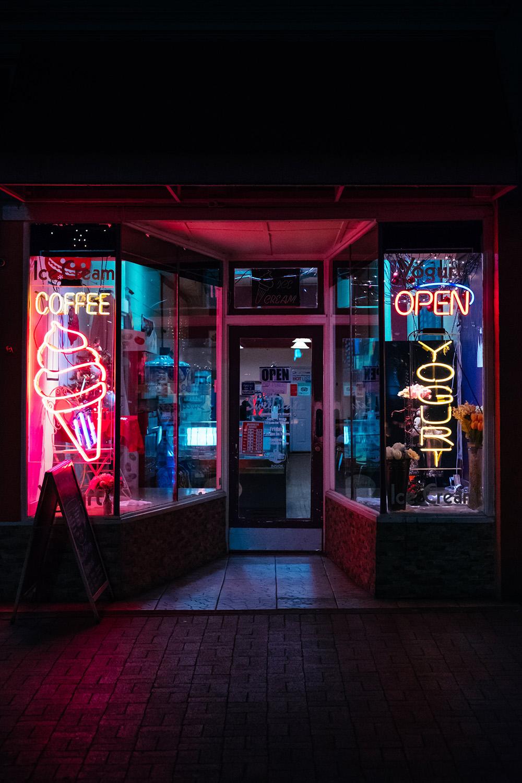 neon ice cream sign at night