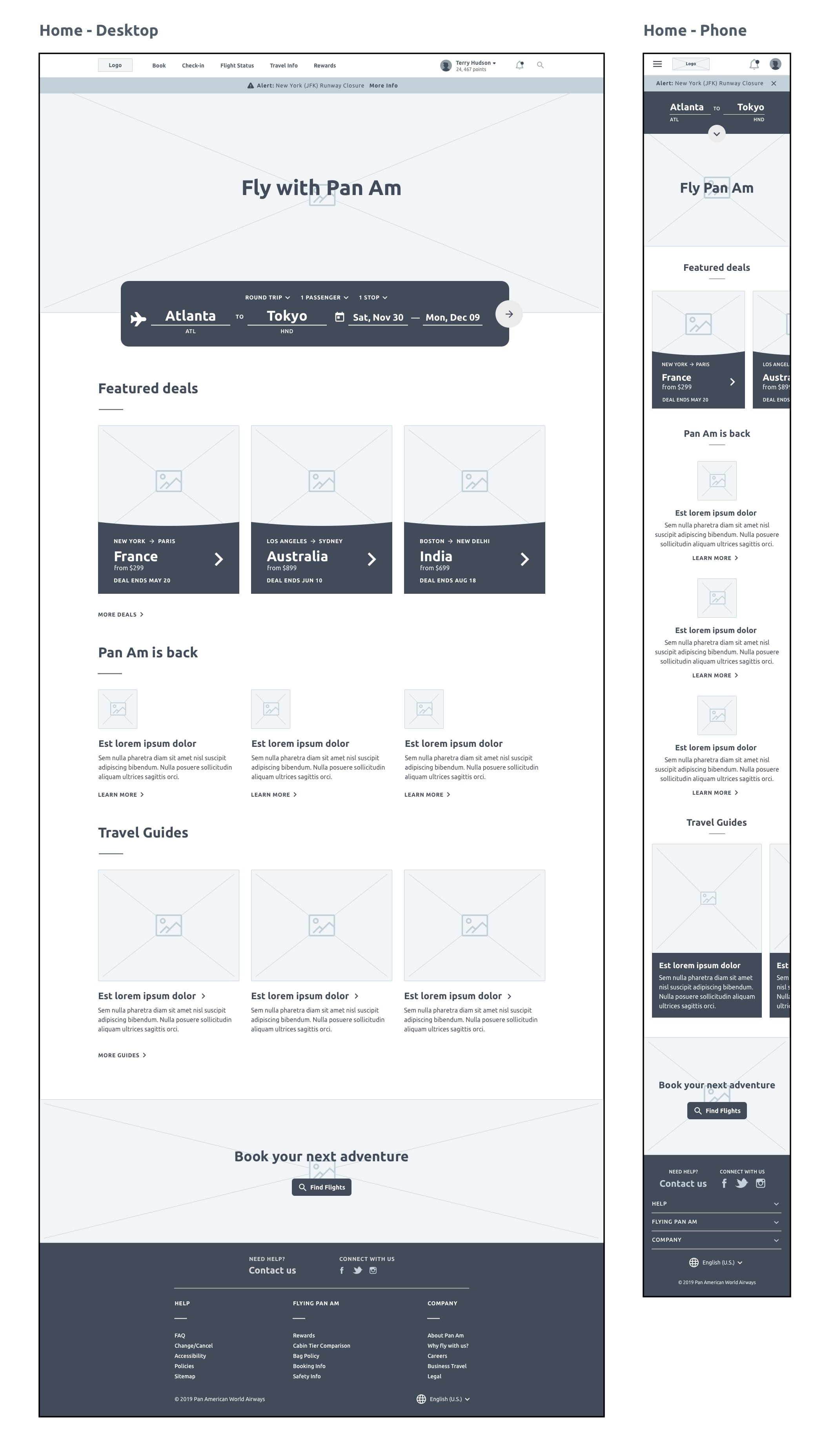 wireframe of homepage