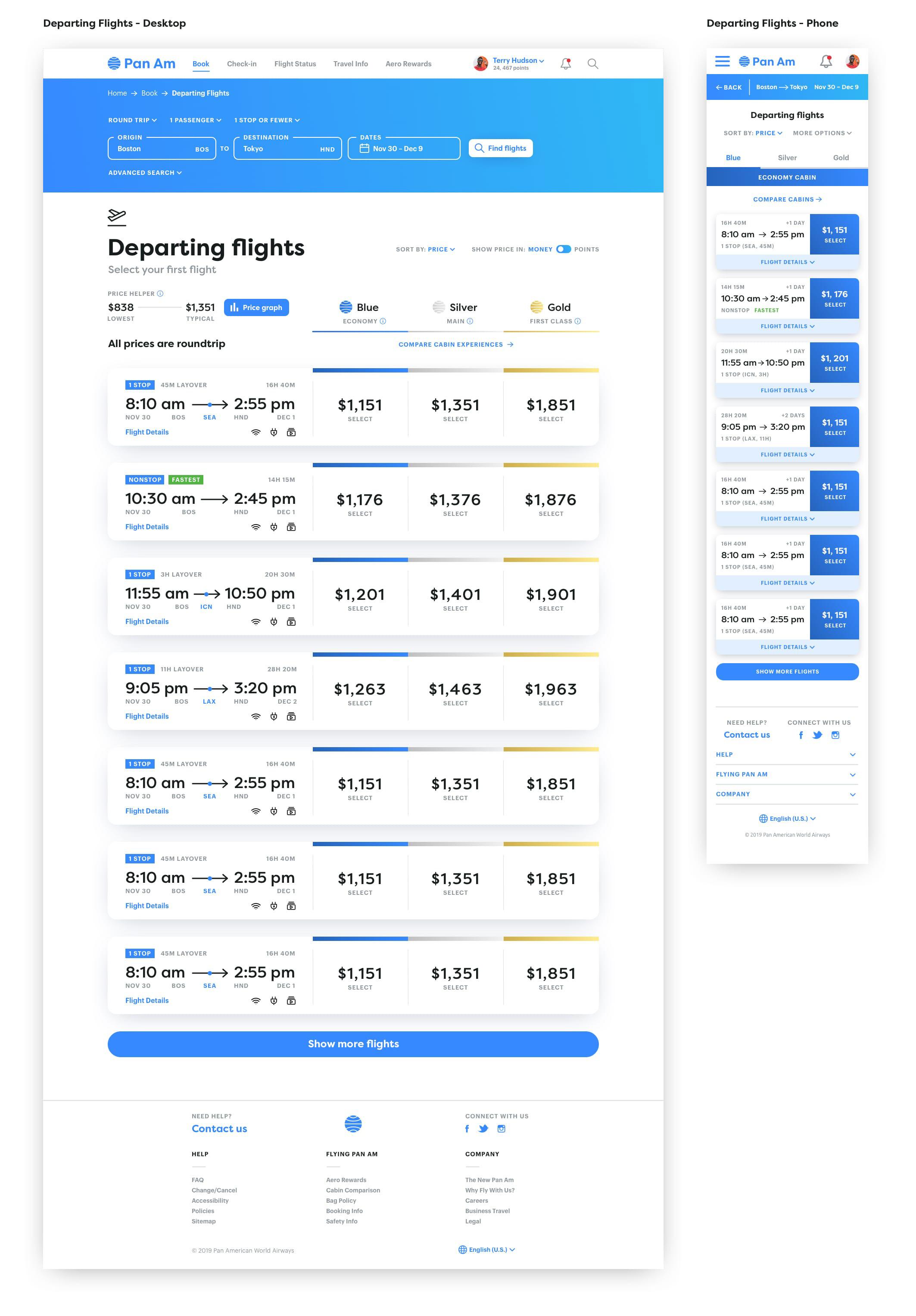 departures page design