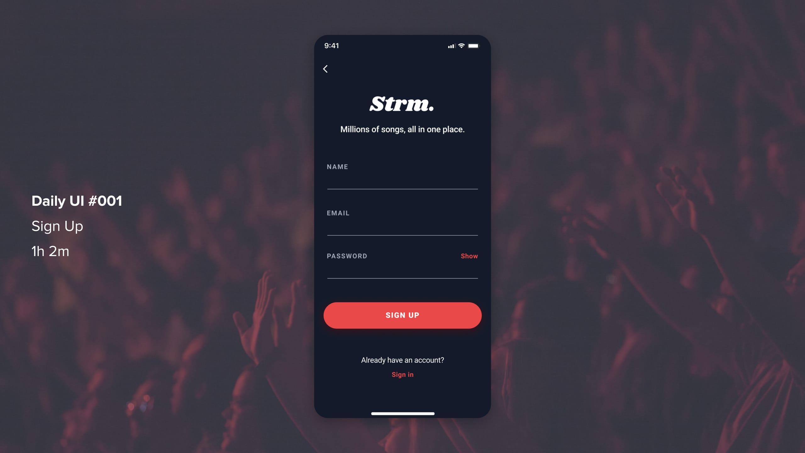 sign up UI