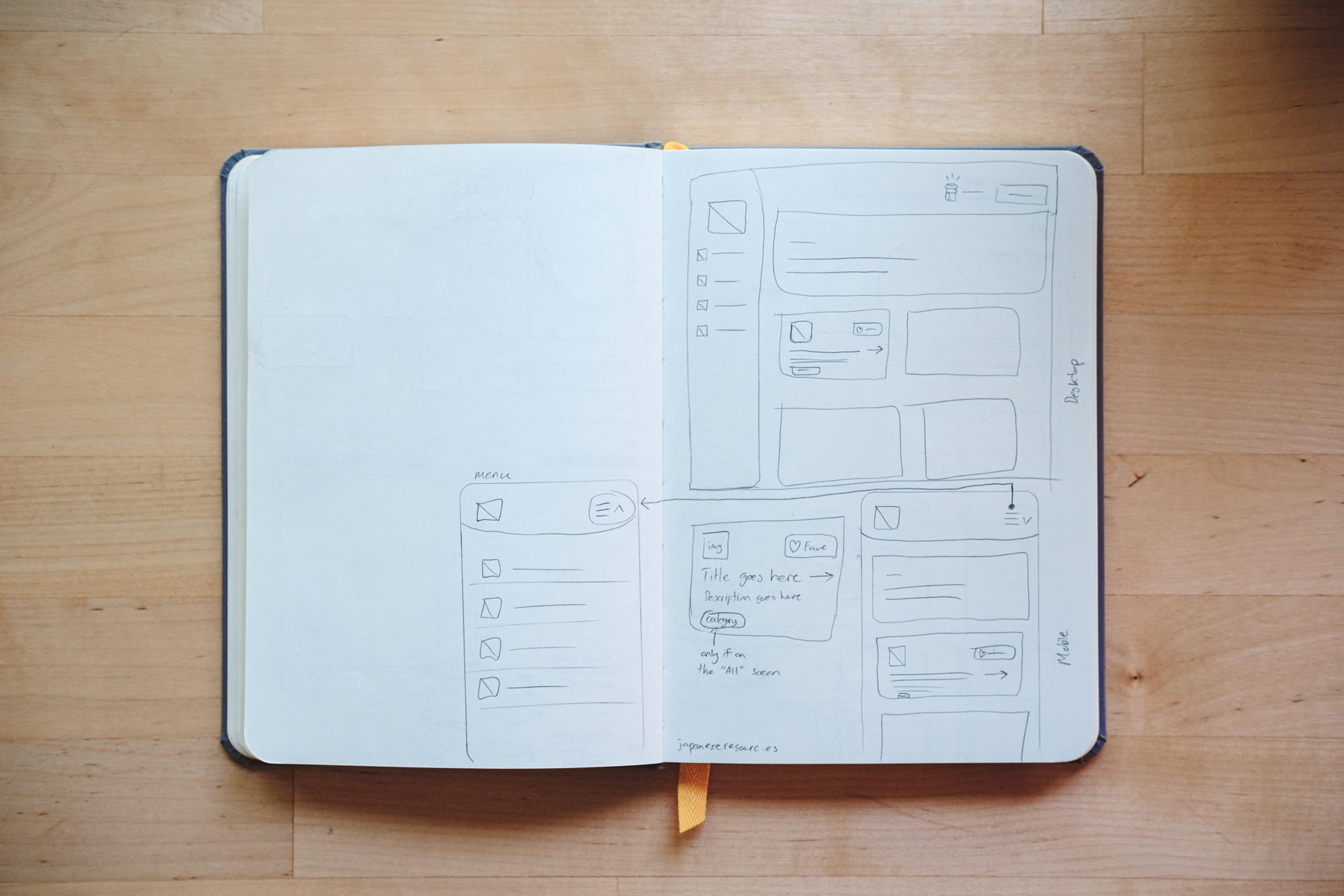 Photo of wireframes sketched in a notebook