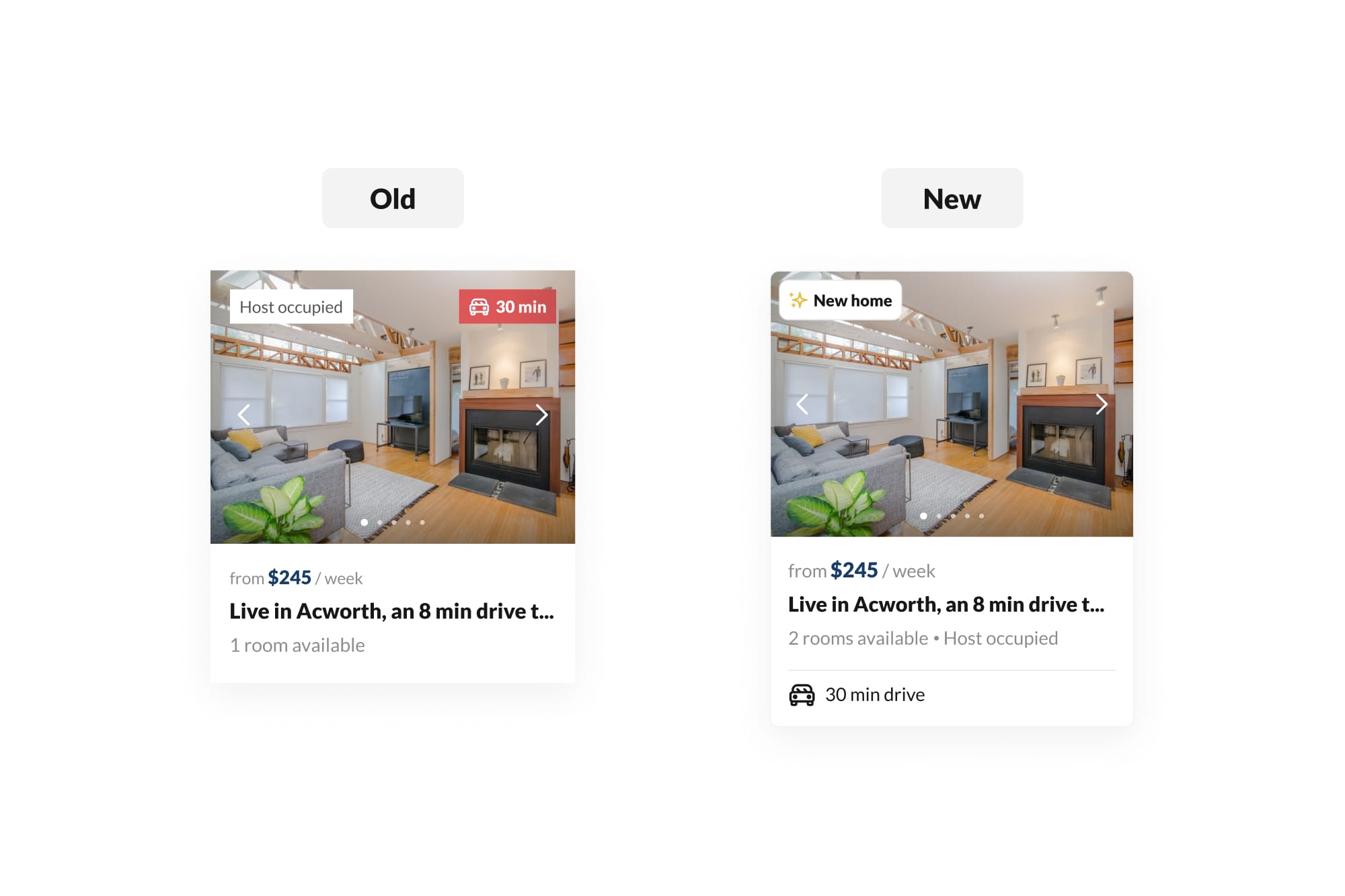 The old and new listing card designs