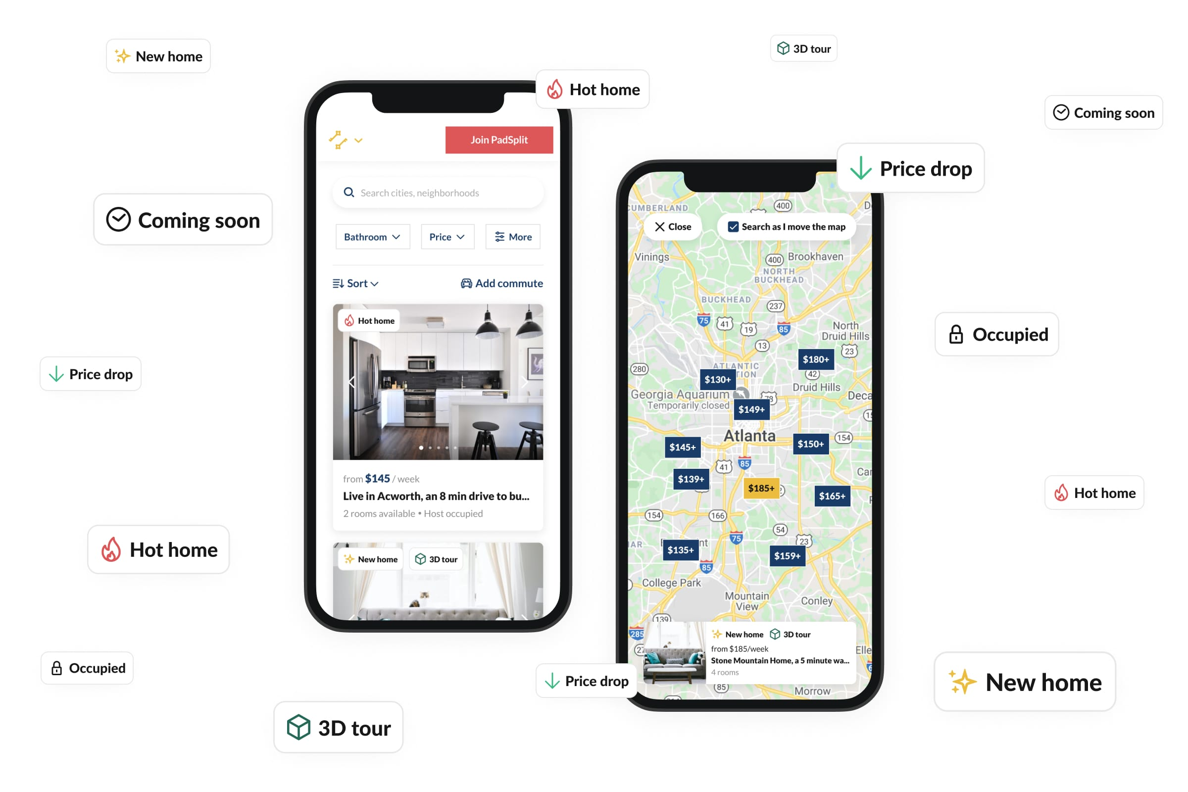 Two phone mockups showing the new search labels