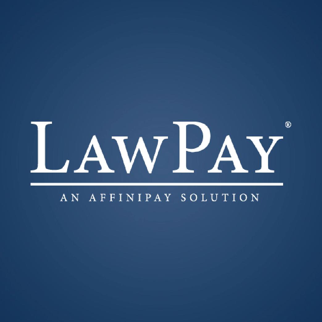 Law Pay logo on dark blue background