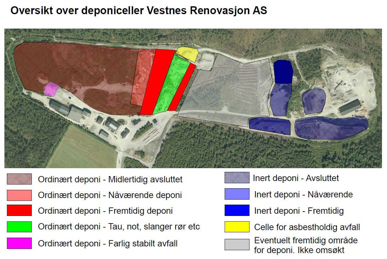 Oversikt over deponiceller ved Vestnes Renovasjon AS