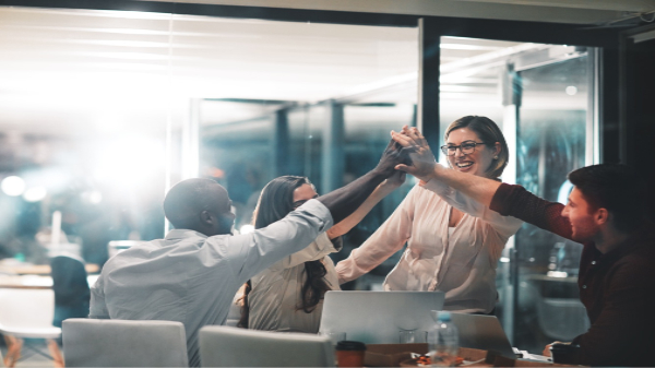 The Best Methods for Defining Your Corporate Culture | Packaging Blog | team in office high five