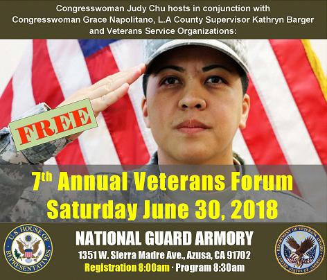7th Annual Veterans Forum flyer Saturday, June 30, 2018