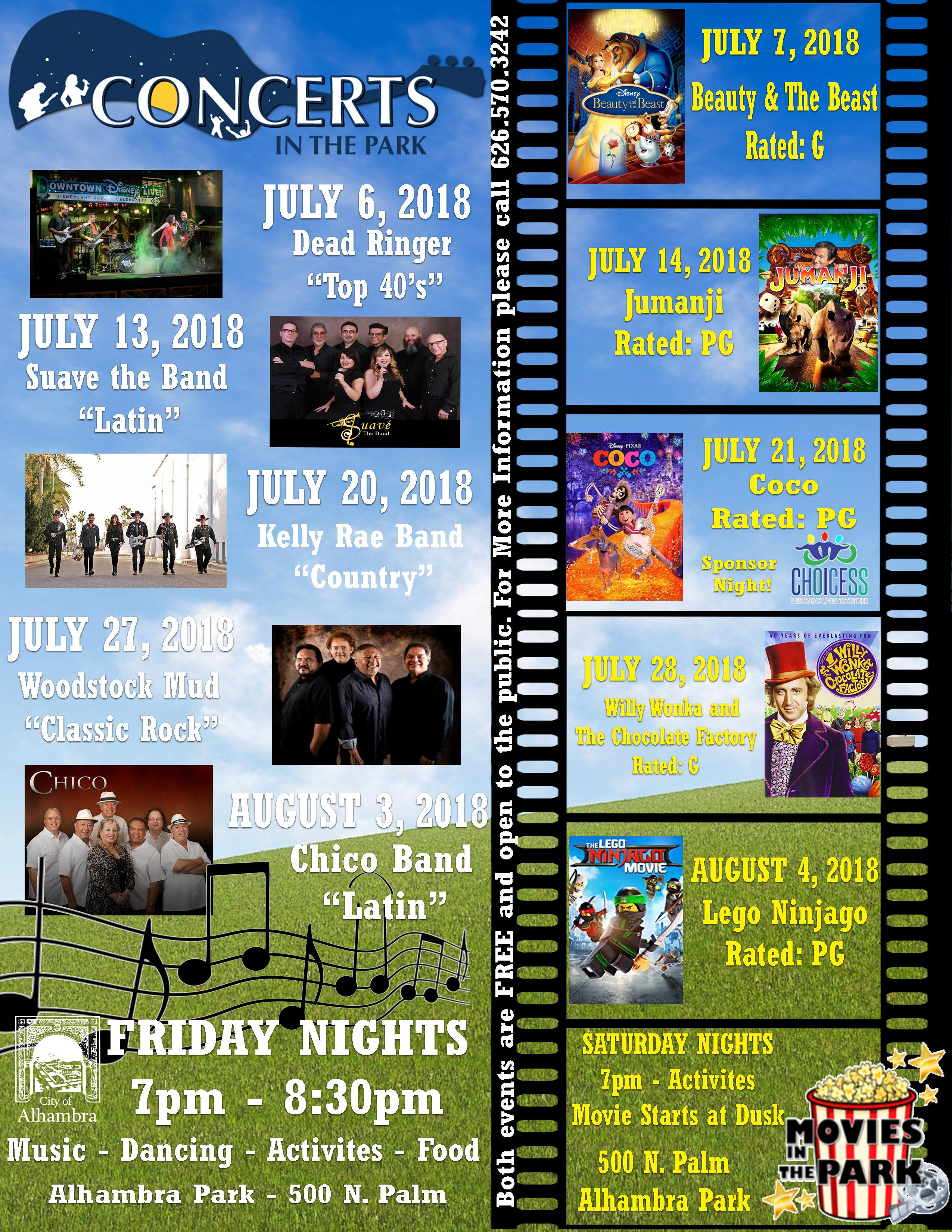 Photo of Concerts and Movies in the Park flyer with dates and times of movies and performances