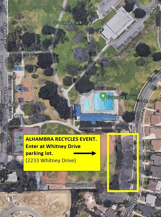 Map of Granada Park with location of Whitney Drive parking lot outlined