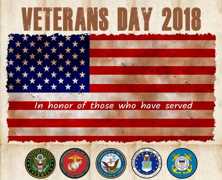 Veterans Day 2018 In Honor of those of have served banner with American flag