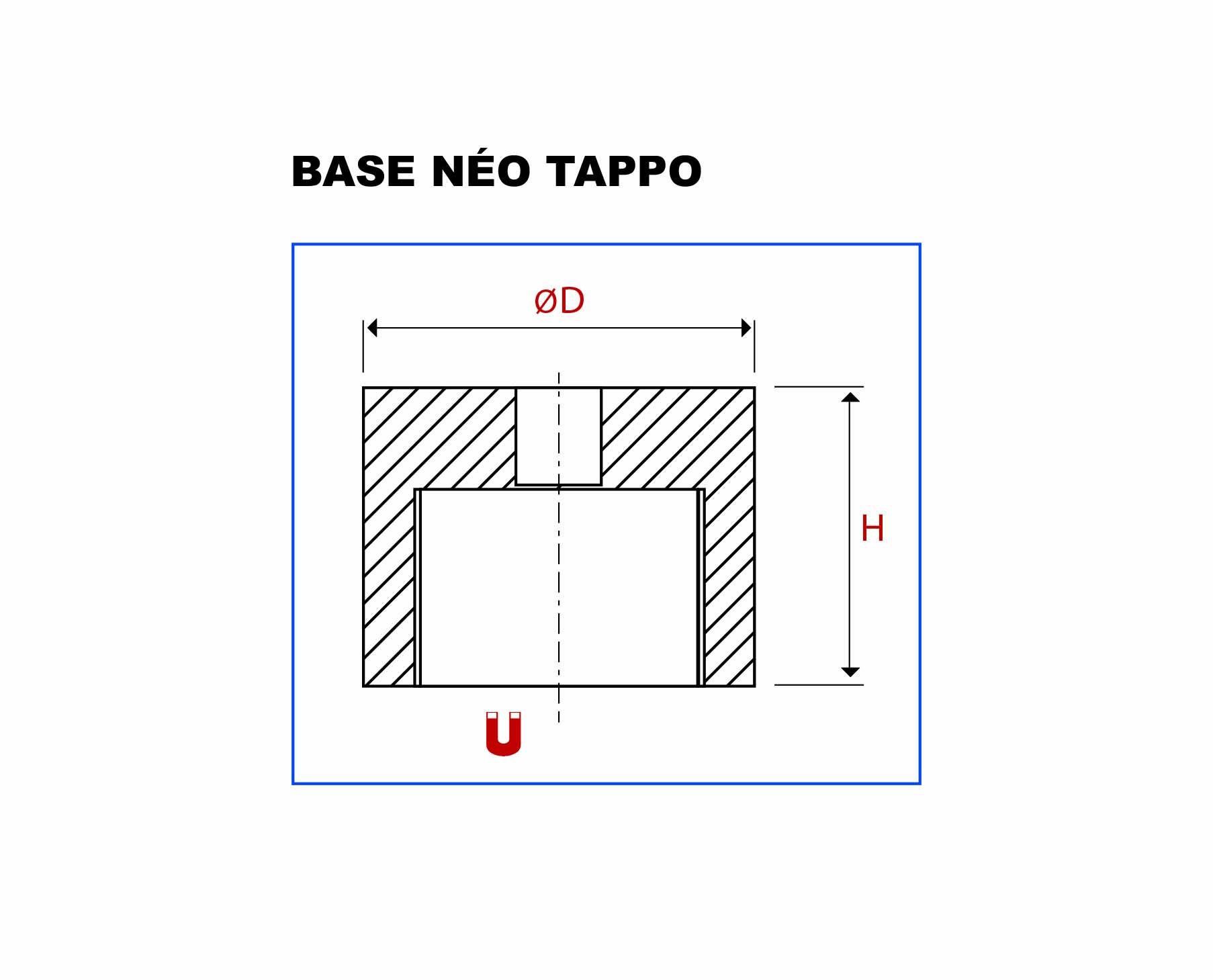 Plan de la base Bouchon néodyme vue en coupe