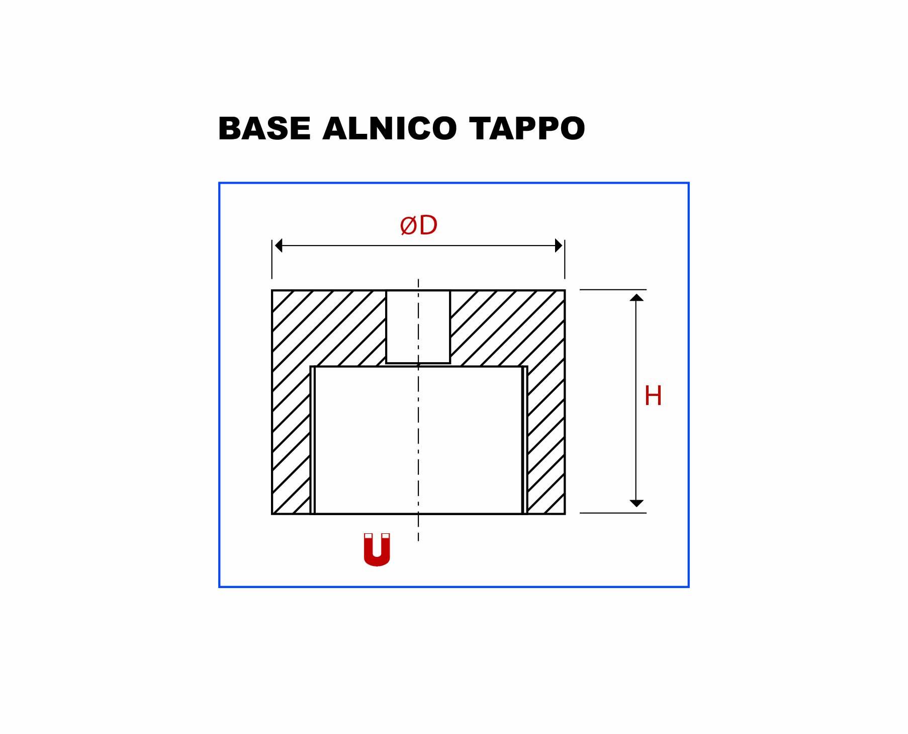 Plan de la base Bouchon AlNiCo vue en coupe