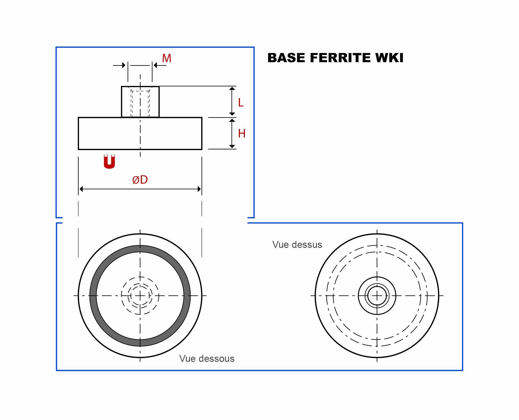 Plan de la base magnétique ferrite avec téton taraudé vue en coupe, vue de dessus et vue de dessous