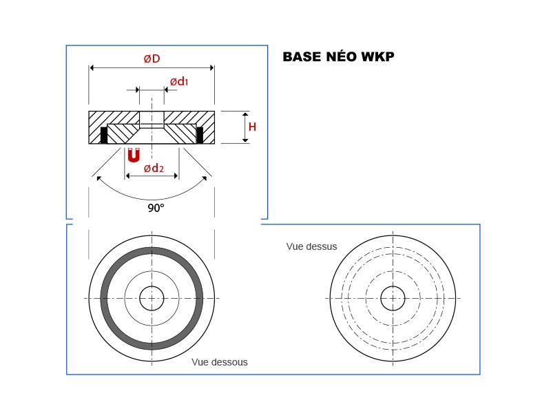 Plan de la base magnétique néodyme avec trou conique vue en coupe, vue de dessus et vue de dessous
