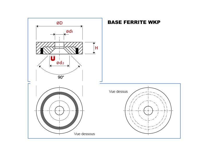 Plan de la base magnétique ferrite avec trou conique vue en coupe, vue de dessus et vue de dessous