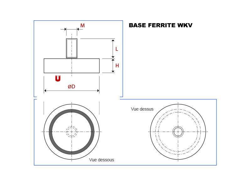 Plan de la base magnétique ferrite avec tige filetée vue en coupe, vue de dessus et vue de dessous