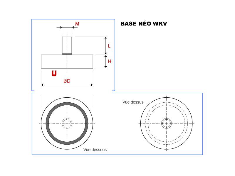Plan de la base magnétique néodyme avec tige filetée vue en coupe, vue de dessus et vue de dessous