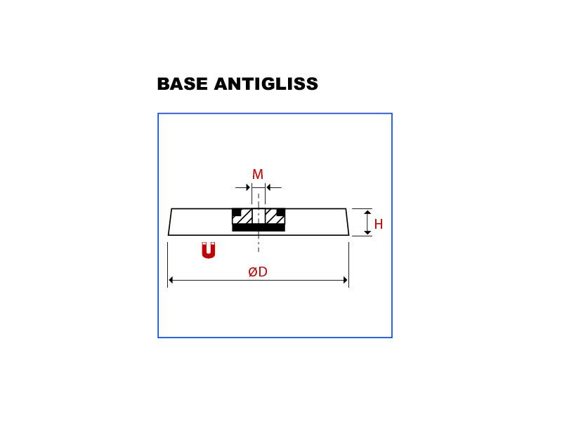 Vue en de la base magnétique antigliss néodyme