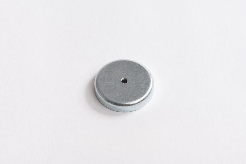 Base magnétique néodyme avec trou conique vue côté carcasse en fer