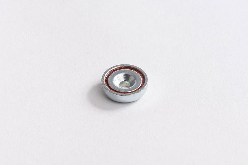 Base magnétique néodyme avec trou conique vue face aimanté