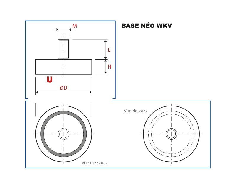 Plan d'ensemble de la Base Magnétique Néodyme WKV avec tige filetée