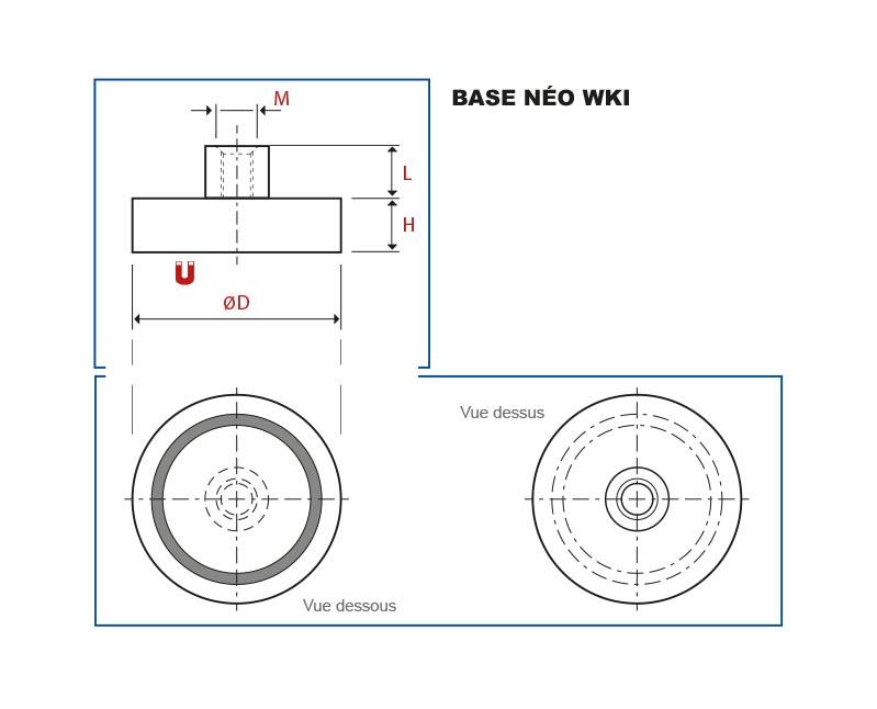 Plan de la base magnétique néodyme avec téton taraudé vue en coupe, vue de dessus et vue de dessous