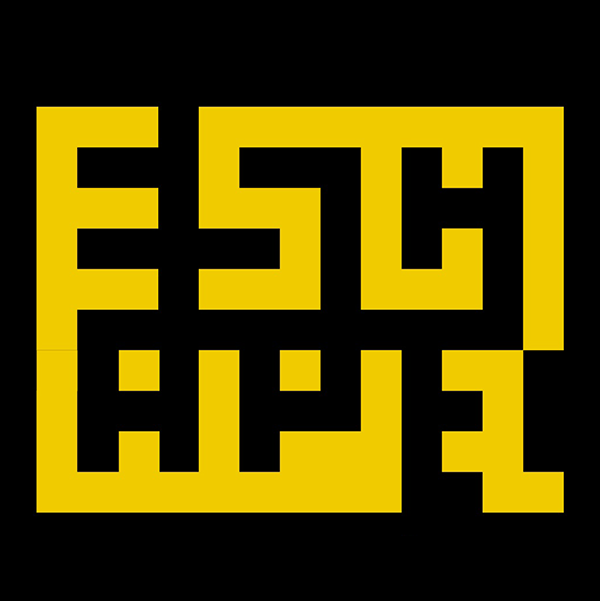 The Escape Bryggen Logo: the word escape in the style of a maze, in gold and black.