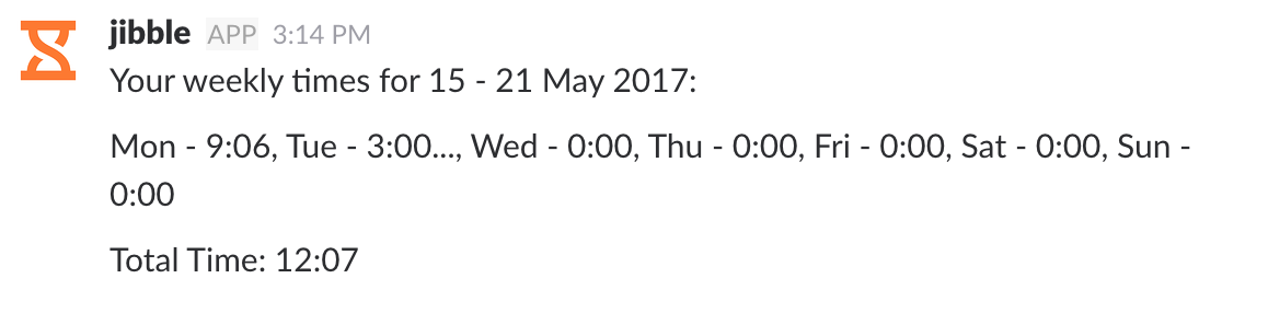 Screenshot of weekly times in Slack