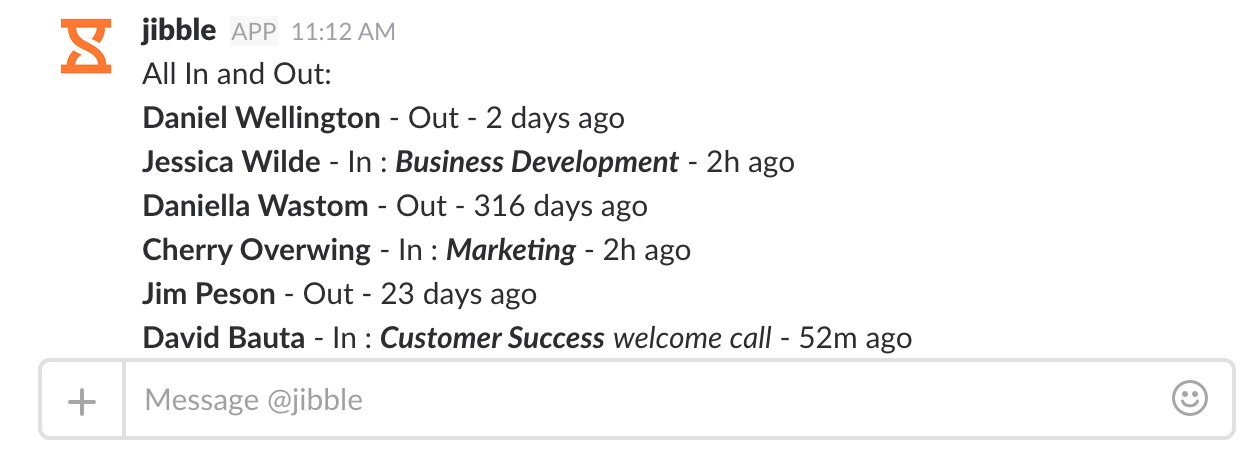 Screenshot of all ins and outs in Slack