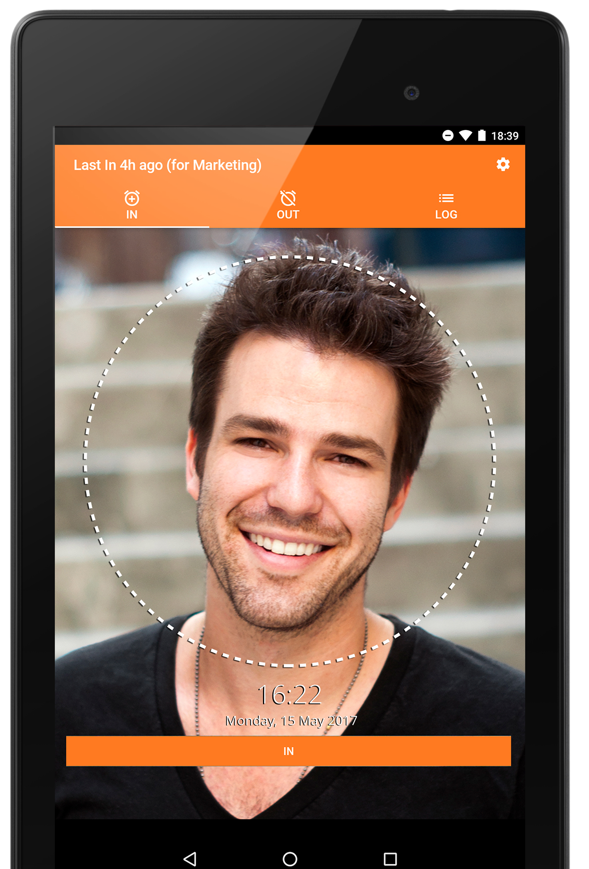 Jibble in with a Selfie on an Android Tablet