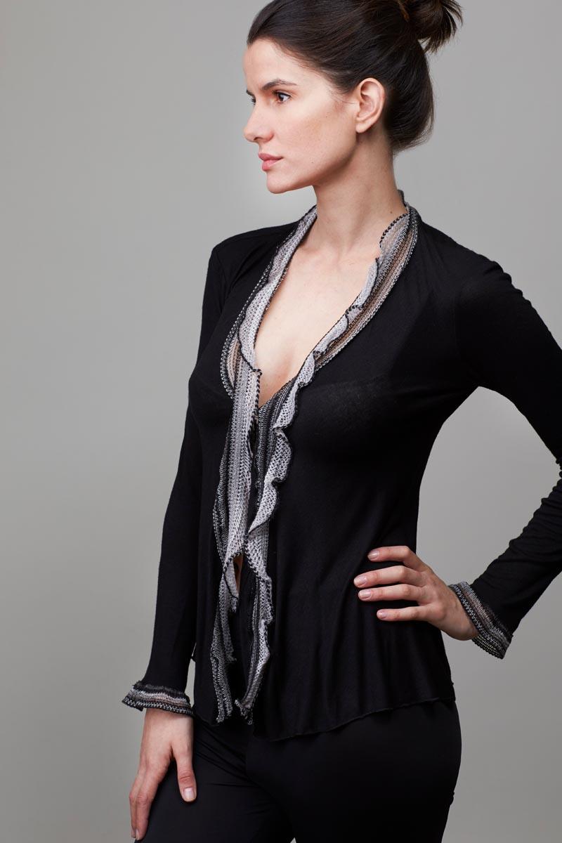Model wearing cardigan